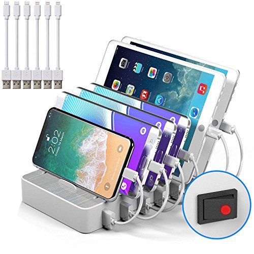 JZBRAIN Multi Device Charging Station Cables Cell Phone Tablets 5V 50W 6 Port Multiple USB Charger Station (White) by JZBRAIN