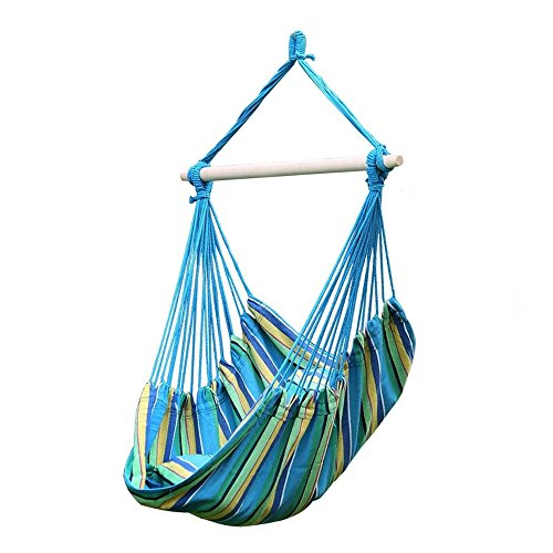 Outdoor Aqua Cotton Solid Swing Hammock Hanging Rope Fabric Chair Camping Yard Patio Tree Garden - Brazillian Hut