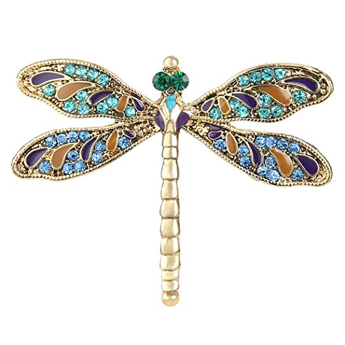 EVER FAITH Austrian Crystal Enamel Vintage Inspired Dragonfly Insect Animal Brooch Pin Blue ()