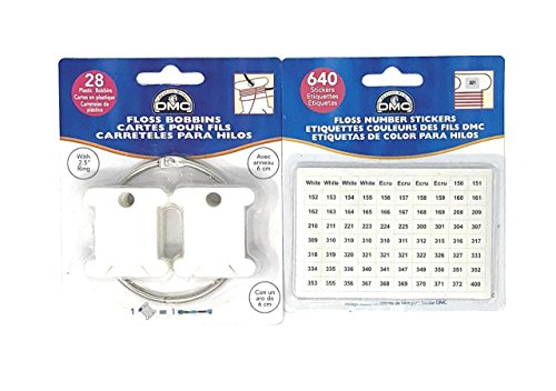 DMC Plastic Floss Bobbins with Ring (6105) Bundled with 640 Floss Number Stickers (6103)