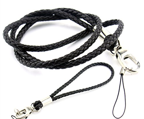 Handmade Braided Lanyards PU Leather Necklace Wrist Hand Straps Premium Quality Neck Lanyards keychain (1 Long and 1 short) For Camera  Cell Phone I…