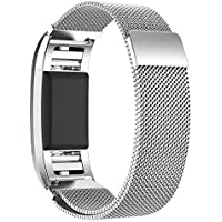 For Fitbit Charge 2-Milanese Loop Stainless Steel Metal Bracelet Strap with Unique Magnet Lock, No Buckle Needed for…