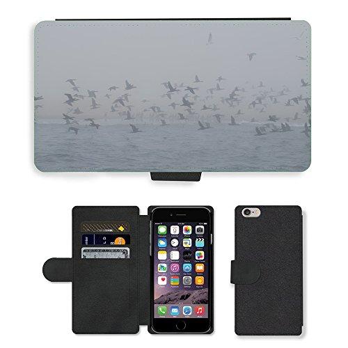 "Just Phone Cases PU Leather Flip Custodia Protettiva Case Cover per // M00128253 Horizon Oiseaux Nature Mer Mouette // Apple iPhone 6 PLUS 5.5"""
