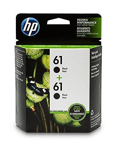 HP 61 Black Original Ink Cartridges, 2 pack (CZ073FN) (Hp Ink 61 Color And Black)