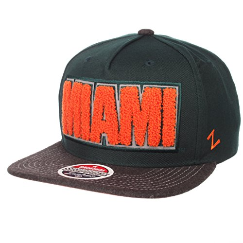 quality design 798fb 008f3 ZHATS NCAA Miami Hurricanes Men s Jock Snapback Hat, Adjustable, Gray Team  Color