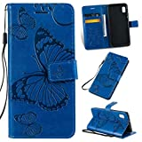Cmeka 3D Butterfly Wallet Case for Samsung Galaxy A10E with Credit Card Slots Holder Magnetic Closure Slim Flip Leather Kickstand Function Protective Case Blue