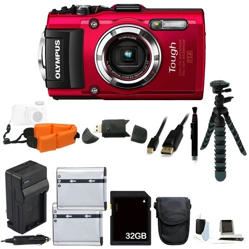 """Olympus Stylus TOUGH TG-3 WiFi Waterproof Digital Camera (Red) Bundle Includes Extra Batteries, an AC/DC Charger, Floating Wrist Strap, 12"""" Flexible Tripod, and with a FREE 32GB Class 10 SDHC Memory Card and MORE!"""