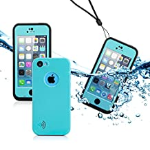 GEARONIC TM New 2016 Newest Durable Waterproof Shockproof Dirt Snow Proof Case Cover For iPhone SE 5 5C 5S - Sky Blue