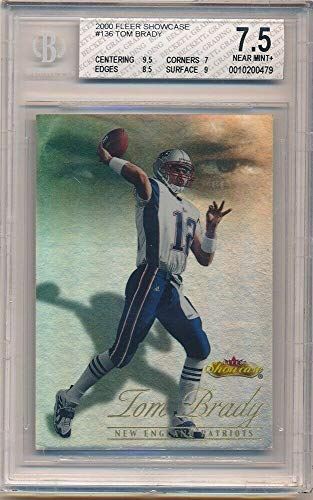 BIGBOYD SPORTS CARDS Tom Brady 2000 Fleer Showcase #136 RC Rookie Patriots SP #/2000 BGS 7.5 NM+