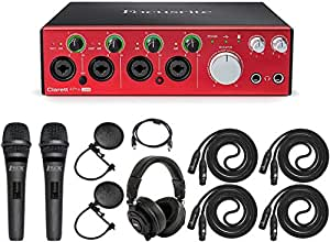 Focusrite Clarett 4Pre USB Audio Interface with Pro Tools and Standard Dual Recording Accessories Kit Ideal For Musicians, Producers and Small Bands