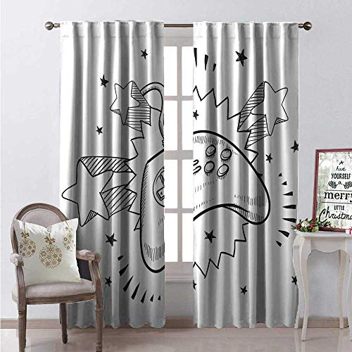 Hengshu Nursery Thermal Insulating Blackout Curtain Seventies Pop Inspired Retro Composition Doodle Video Game Controller Blackout Draperies for Bedroom W72 x L108 Charcoal Grey and White