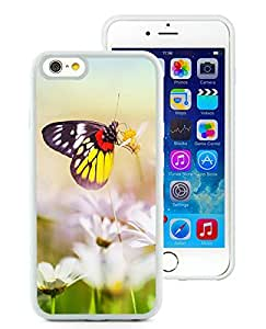 Aesthetic Butterfly On Flower For iPhone 6 (4.7) White TPU Case Cover