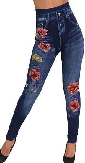 FRPE Women's High Waist Denim Print Fake Jeans Leggings Trousers