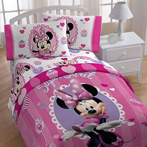 4pc Disney Minnie Mouse Twin Bedding Set Sweet Treats Cupcakes Comforter and Sheets (Minnie Comforter Set)
