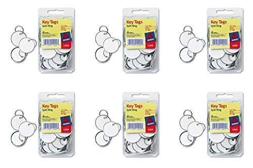 Avery Metal Rim Key Tags, Card Stock/Metal, White, 50 per Pack (11025), 6 Packs (White Metal Rim)