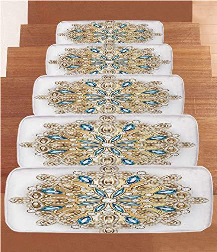 (SoSung Gold Mandala Coral Fleece Stair Treads,Stair Tread Mats,Digital Creation of Mandala Style Brooch Design Geometric Composition Print,(Set of 5) 8.6
