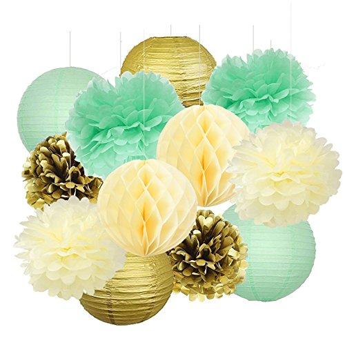 df3333b977225 Mint Gold Birthday Decorations Mint Cream Gold Polka Dot Paper Fan ...