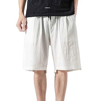 AG&T Hombre Pantalones Cortos Plisados del algodón para ...
