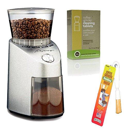 Capresso 565 infinito molinillo cónico de acero inoxidable + café amoladora cepillo para polvo + paquete de 3 35 G Grindz...