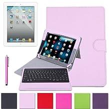 HDE Folding iPad Case Leather Cover Stand Bluetooth Keyboard + Stylus Pen for iPad 2 iPad 3 iPad 4 (Pink)