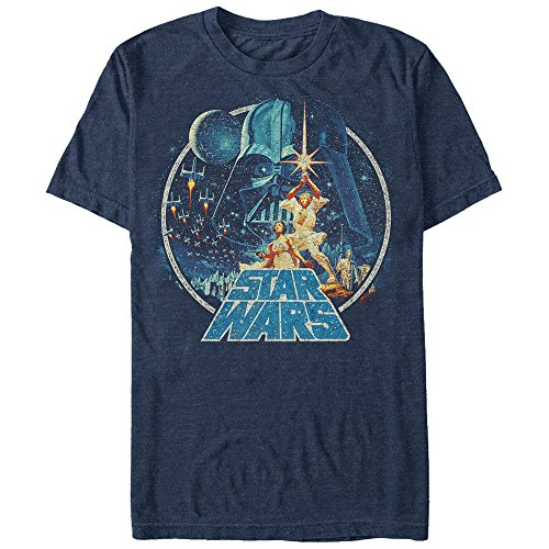 Star Wars Men's Vintage Victory Graphic T-Shirt, Navy Heather, S ()