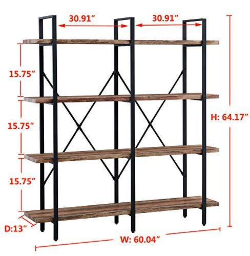 home & kitchen, furniture, home office furniture,  bookcases  on sale, O&K FURNITURE Double Wide 4-Tier Open Bookcases Furniture, Rustic Industrial Etagere Bookshelf, Large Book Shelves for Home Kitchen Organizer, Retro Brown promotion5