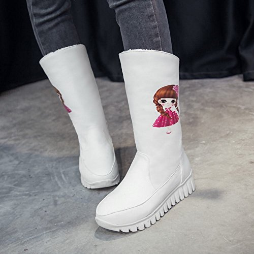 Carolbar Womens Dual-Purpose Girl Printed Fashion Cute Dress Boots White Dtaw2S