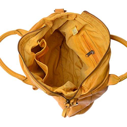 Borsa pelle lavata tinta in capo con doppia lampo frontale DUDU Saffron Yellow