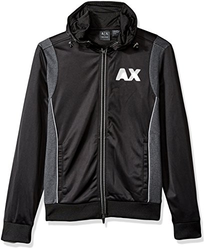 A|X Armani Exchange Men's Sporty Full Zip Hoodie with Reflective Logo, Black/Htr Dk Grey, Large by A|X Armani Exchange
