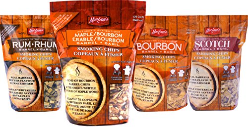 MacLean's Outdoor Barbecue Liquor Barrel Smoking Chips, One bag BBQ Smoker Wood. (Maple Wood and Bourbon Liquor (Bag Whiskey)