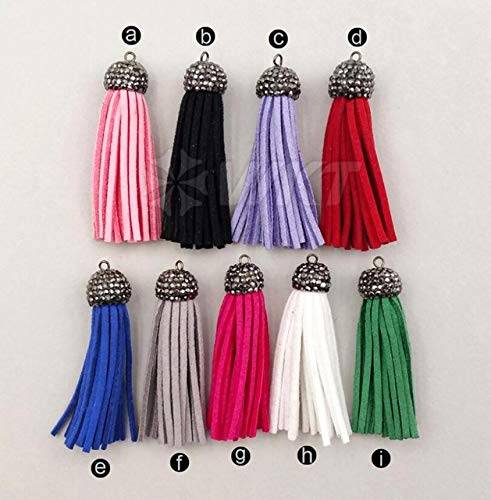 NP290 Hot Sale Wholesale Micro Pave Multi Color Tassels Pendant Lovely 2 inch leatherwear Tassels Pendant for Jewelry Making - (Metal Color: Multi Color) by DAVITU