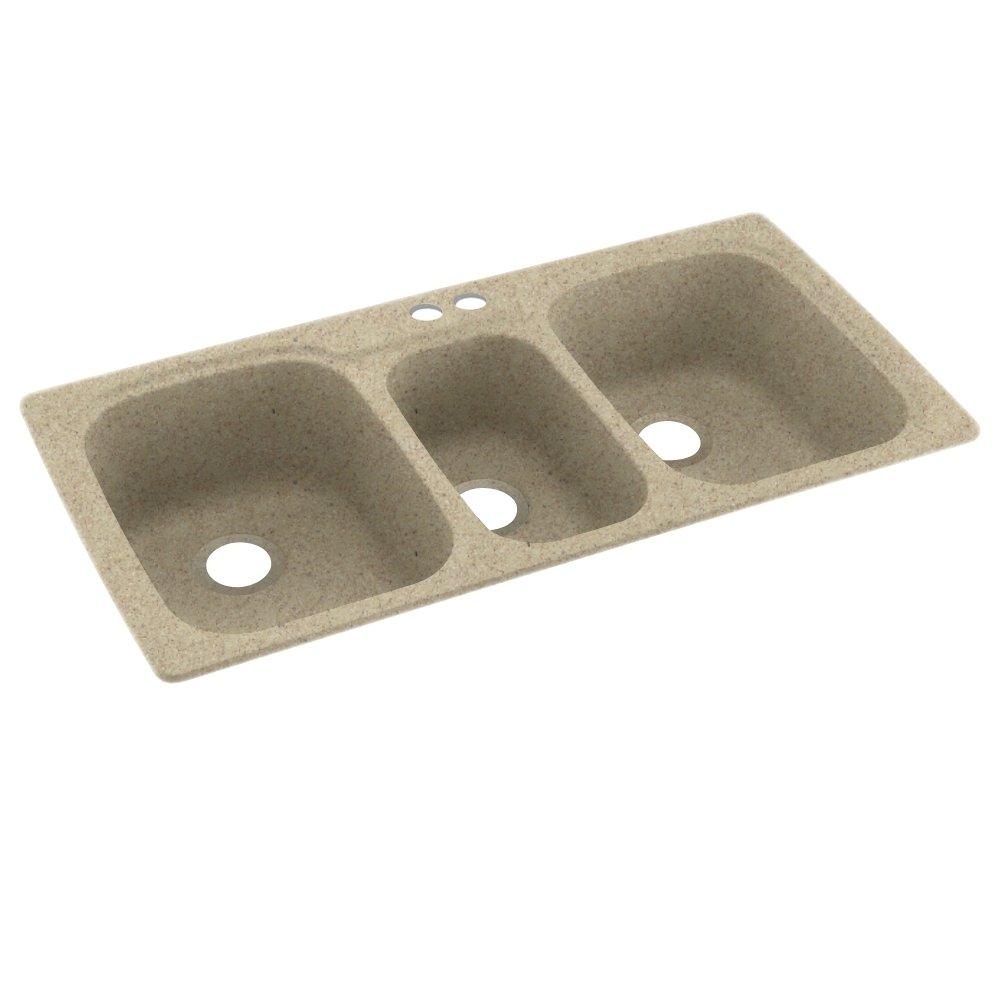 Swanstone KS04422TB.122-2 2-Hole Solid Surface Kitchen Sink, 44'' x 22'', Prairie by Swanstone