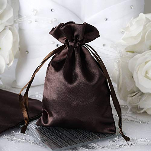 Efavormart 60PCS Chocolate Satin Gift Bag Drawstring Pouch Wedding Favors Bridal Shower Candy Jewelry Bags – 4″x 6″
