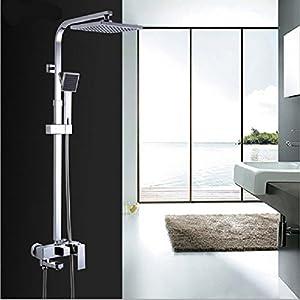 SAEKJJ-Brass Shower Set Chrome Quartet Three Document Bathroom Concealed Shower Faucet Bathroom faucet well-wreapped