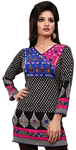 India Tunic Top Kurti Womens Printed Blouse Indian Apparel (Black, S)
