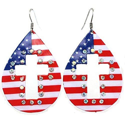 USA Flag American Patriotic Stars Rhinestone Cut Out Cross Earrings Jp Red White Blue