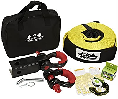 7 Piece ATV Towing Kit Hitch Receiver, Towing Strap, D-Shackles, Flashlight, Gloves, Carrying Bag