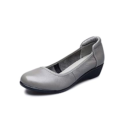 Women Wedge Heel Shoes Leather Soft Flat Mary Janes (Color   Gray ... 2ce327b2375