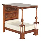 Melody Jane Dollhouse Walnut 4 Poster Great Bed of Ware Tudor JBM Bedroom Furniture
