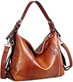 Heshe Vintage Leather Handbags for Women and Ladies Casual Shoulder Handbag Tote Top Handle Bag Satchel Purses (Top Grain Leather-Sorrel)
