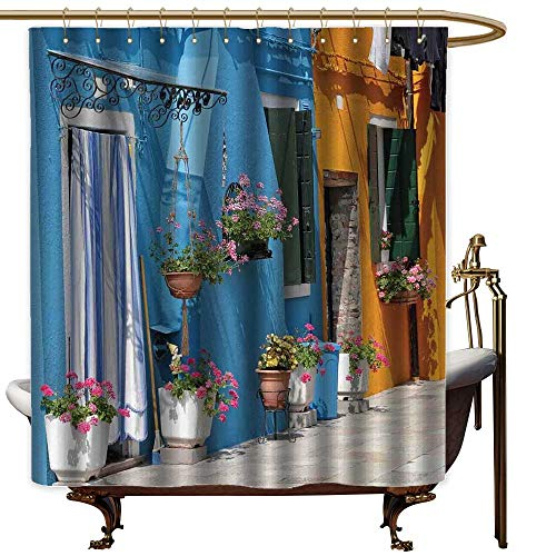 Qenuanmpo Clear Shower Curtain Liner Tuscan,Retro Tuscan House with Brick Road Flower Pots Outside Sovana Tuscany View,Marigold Pale Blue,Metal Rust Proof Grommets Bathroom Decoration 54