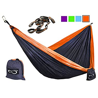 Double Camping Hammocks - Made From Strong and Lightweight Parachute Weather Resistant Nylon- Hammocks Include Stretch Resistant Tree Straps - Perfect for Travel or Hiking- Orange Outside