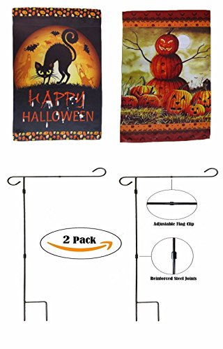 ALBATROS 12 inch x 18 inch Happy Halloween #21 Sleeved with Garden Stand Flag for Home and Parades, Official Party, All Weather Indoors Outdoors