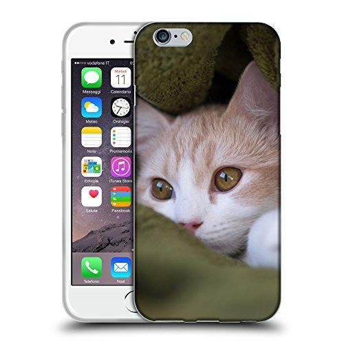 """Just Phone Cases Coque de Protection TPU Silicone Case pour // V00004262 chaton Beige cache dans une couverture // Apple iPhone 6 6S 6G PLUS 5.5"""""""