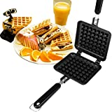 Happy Hours Family Restaurant Belgian Waffle Baking Plate Pan Non-stick Cast Aluminum Stovetop Campfire Cooking Checkered Cakes Making Mold