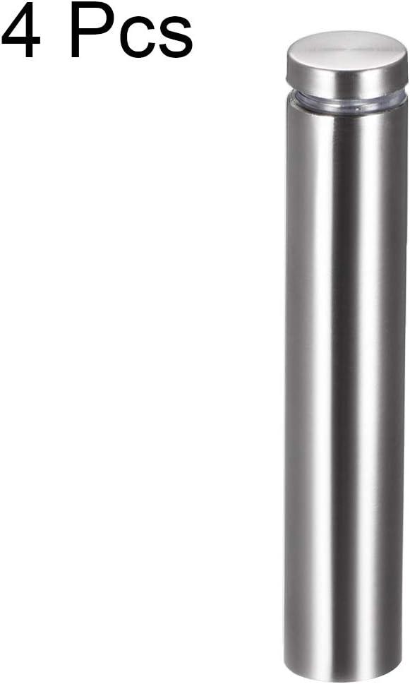 sourcing map Separador De Acero Inoxidable para Vidrio De Montaje En Pared De Clavos 19mm Di/ámetro 25mm Longitud 4 Pcs