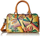 Anuschka Anna by Handpainted Leather Large Zip Around Satchel, Dragonfly Glass Painting