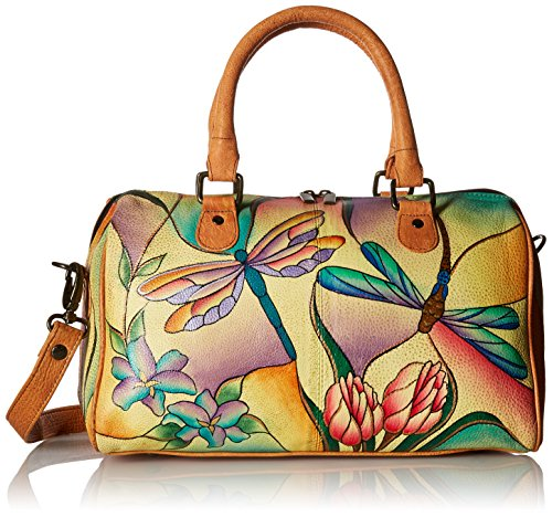 Anna by Anuschka Women's Leather Handpainted Satchel, Dragonfly Glass Painting ()
