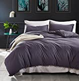 PerfectED Duvet Cover Set with Zipper Closure Microfiber Bedding Set with Furry Little Balls-3 Piece set (1 Quilt+2 Pillowcase) Queen,Dark Gray