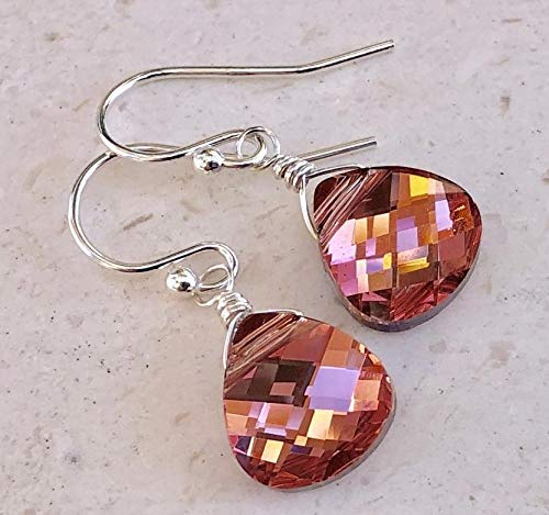 Swarovski Crystal Coral Teardrop Earrings - Rose Peach Sterling Silver - Jewelry Gift For Her